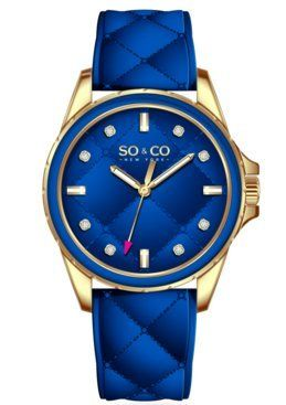 SO&CO New York Women's 5201.3 SoHo Analog Display Quartz Blue Watch  Gold-tone round case with blue bezel on a blue quilted design genuine leather strap Gold-tone round case with blue bezel on a blue quilted design genuine leather strap Blue quilted design dial with crystal markers Gold-tone round case with blue bezel on a blue quilted design genuine leather strap Gold-tone round case with blue bezel on a blue quilted design genuine leather strap Blue quilted design dial with crystal..