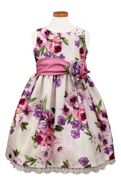 Main Image - Sorbet Floral Print Crochet Hem Dress (Toddler Girls, Little Girls & Big Girls)