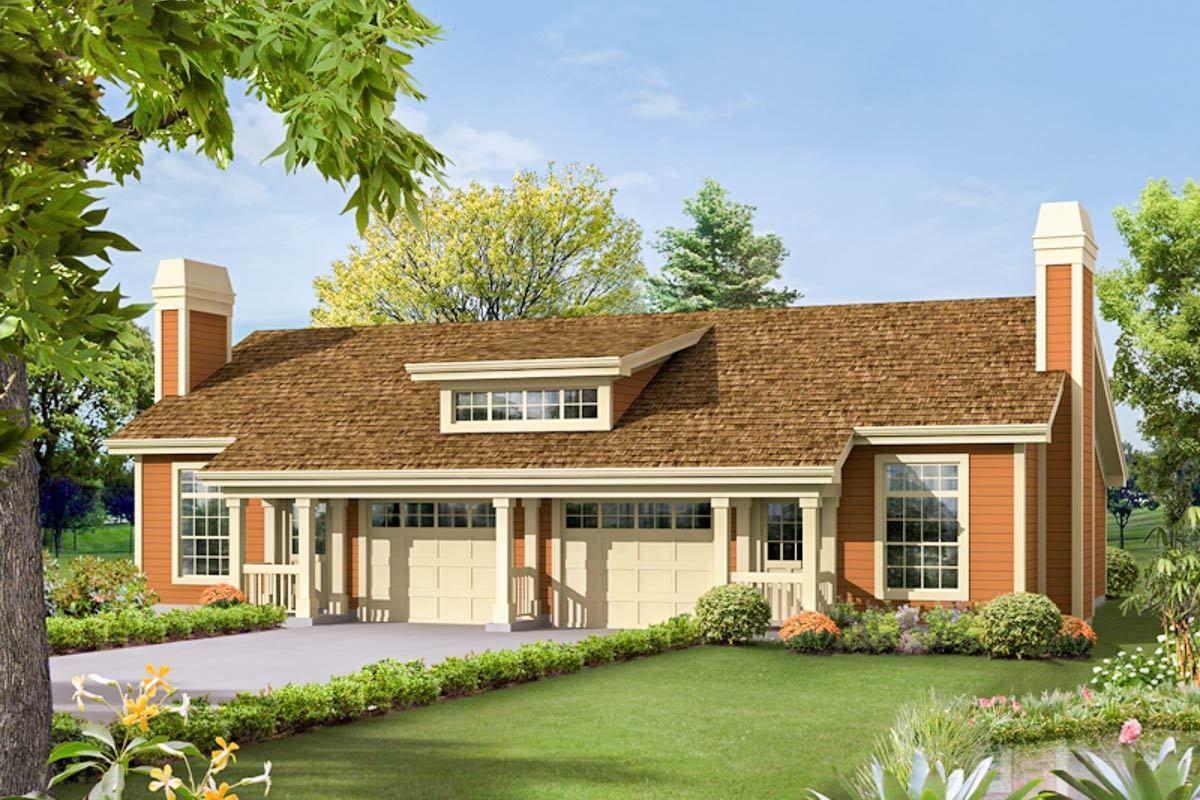Plan 57250HA One Bedroom Duplex House plans, Cottage