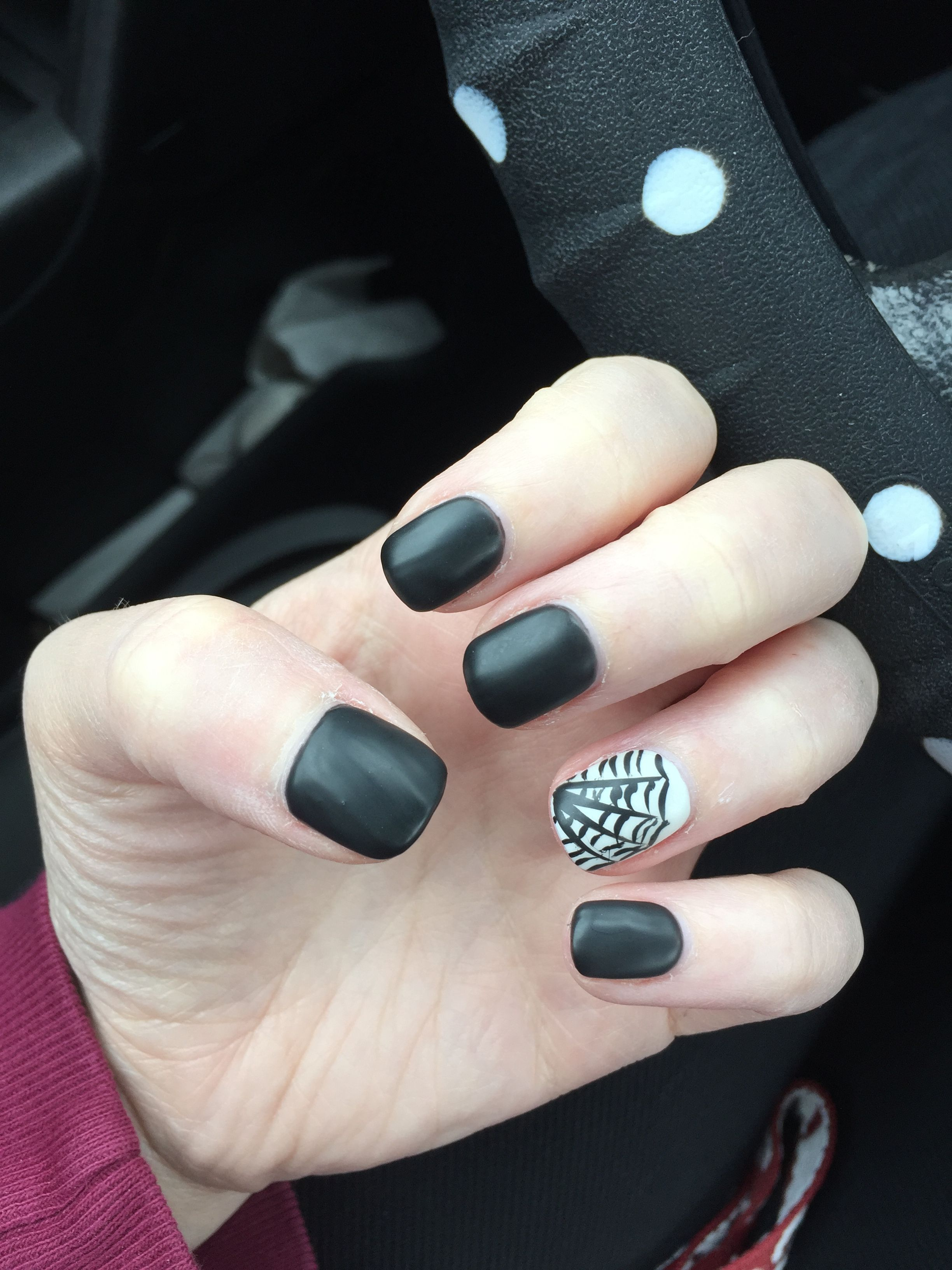 This years Halloween nails. Matte black and white with ...