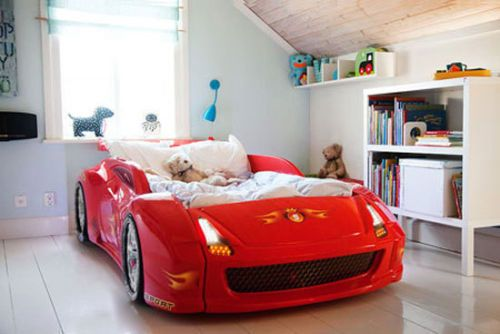 Racing Car Bed Boys Kids Childrens Toddler Room Red Super