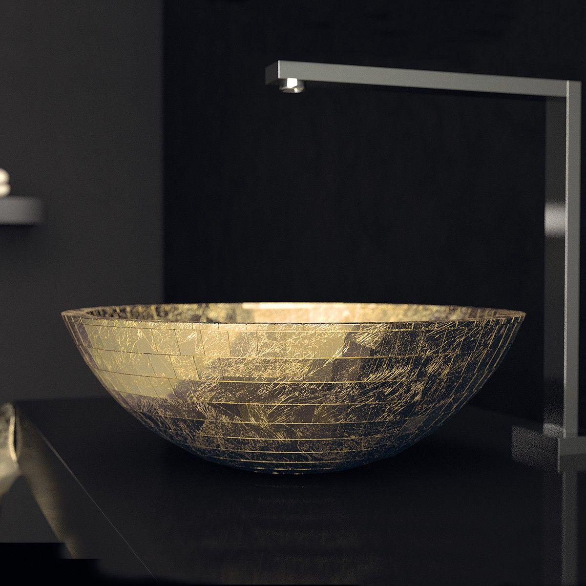 Ws Bath Collections Mosaic Vessel Bathroom Sink In Gold Leaf 3d