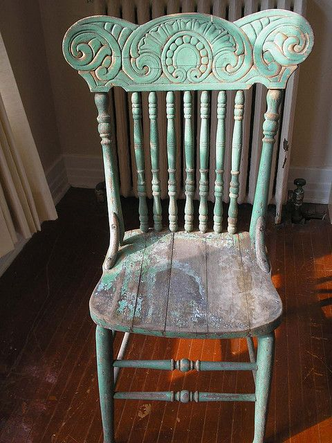 Totally authentic distressed green antique press back chair. I. Am. In. Love - My New Bedroom Chair Antique Chairs, Paint Furniture And Antique