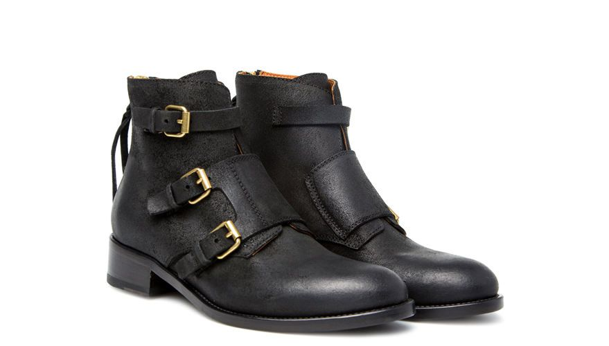 BUTTERO: BLACK LEATHER ANKLE BOOTS WITH METAL BUCKLES (B5721DMCB1/01)