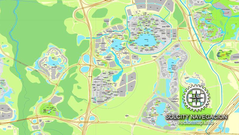 Walt Disney World, Florida, US printable vector street City Plan map ...