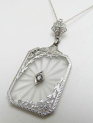 Antique art deco 14k gold rock crystal champhor glass diamond antique art deco 14k gold rock crystal champhor glass diamond necklace pendant aloadofball Choice Image