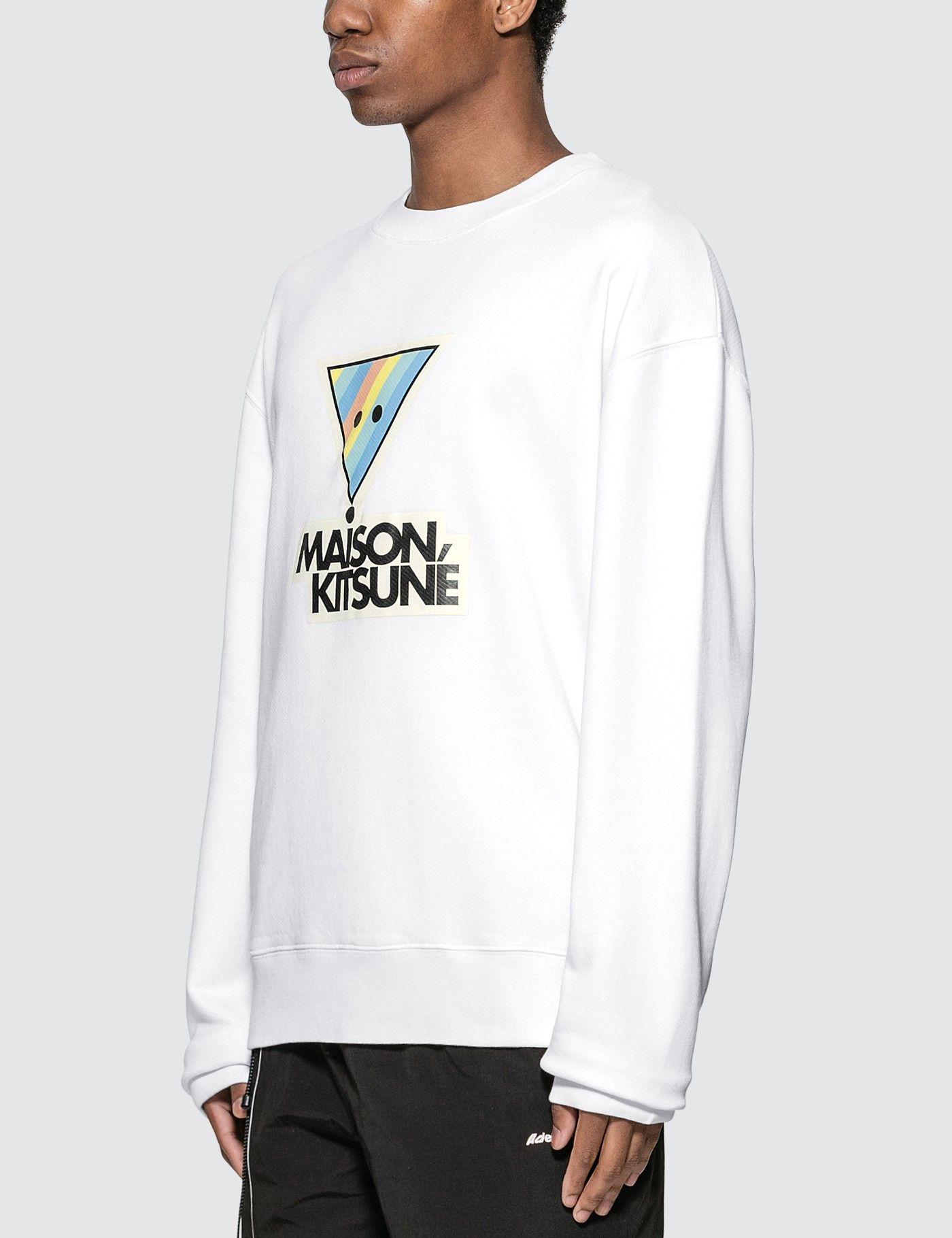 Maison Kitsune Rainbow Triangle Fox Print Sweatshirt Hbx Printed Sweatshirts Fox Print Long Sleeve Tshirt Men [ 1820 x 1400 Pixel ]