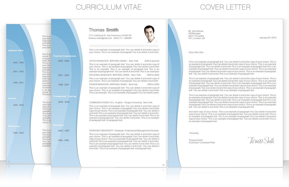 CV Template u2022 CV Template Package Includes Professional layout - cover letter and resume templates for microsoft word