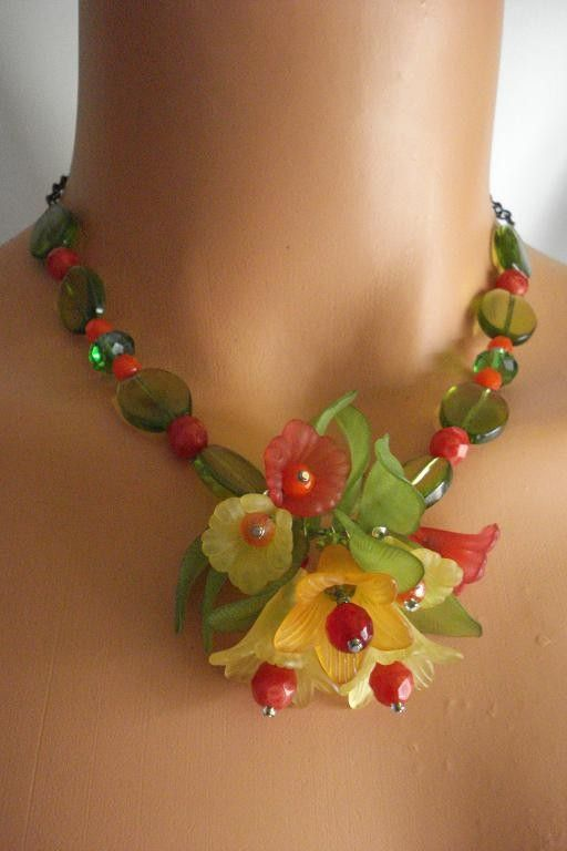 Garden Party Fiesta  Red Orange Yellow Lucite Floral and Copper Chain Statement Necklace