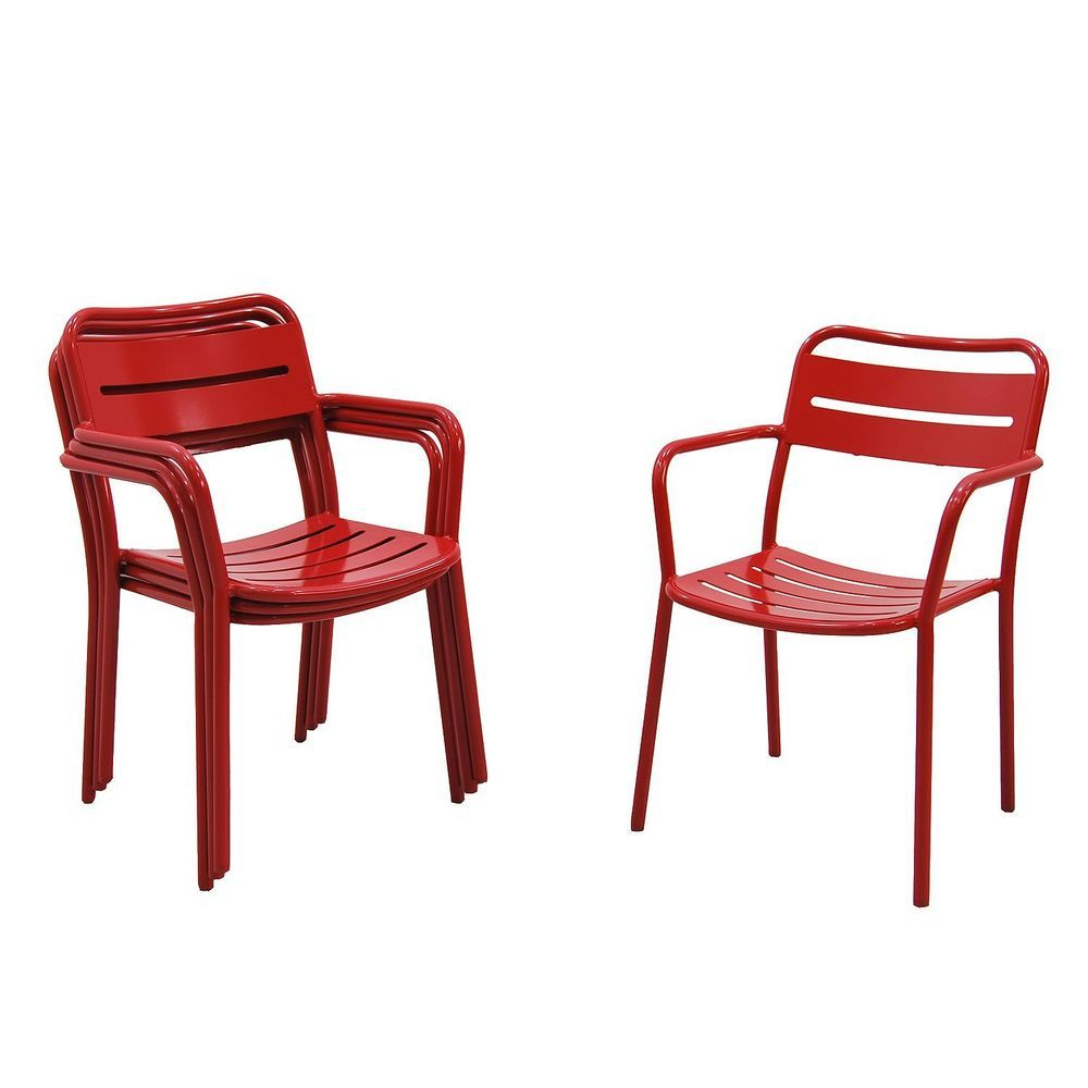 Red Patio Chairs Patio Chairs Set Of 4 Stackable Aluminum Red Rust Resistant