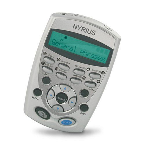 Nyrius LT12 12-Language Speaking Global Digital Translator and Dictionary by Nyrius. $39.99. From the Manufacturer                From the Manufacturer Talking Pocket Translator With 12 Cross-Translated International Languages and 8,400 Travel Related PhrasesSave valuable time and luggage space if you're going on the trip of a lifetime or travelling on important business. Bulky travel dictionaries weigh you down while sightseeing and computer translating softw...