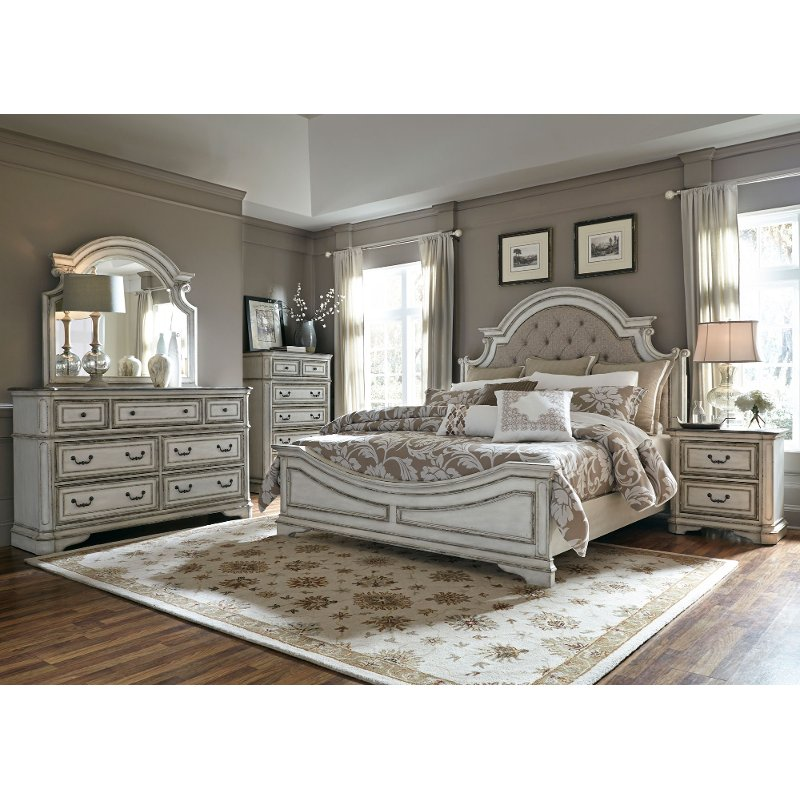Antique White Traditional 4 Piece King Bedroom Set Magnolia