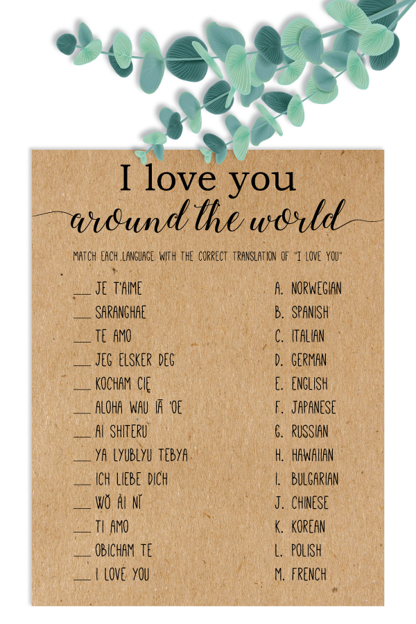 1861e425b3f I Love You Around The World Bridal Shower Games . I Love You In ...