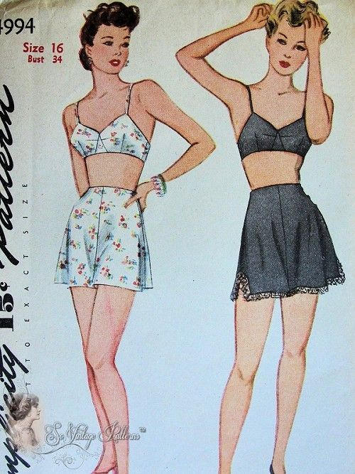 2da55d7e3 1940s Pin Up Style Lingerie Pattern Bra and 3 Side Button Tap Panties  Knickers Simplicity 4994 Vintage Sewing Pattern FACTORY FOLDED Bust 3.