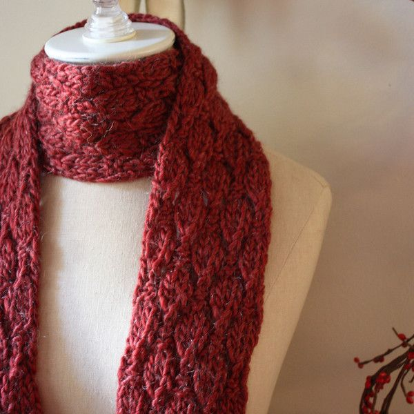 Soft Acorns Scarf Knitting Pattern Chunky Yarn Knit Patterns And