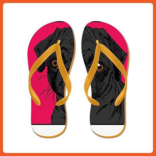 Black Pug - Flip Flops Funny Thong Sandals Beach Sandals