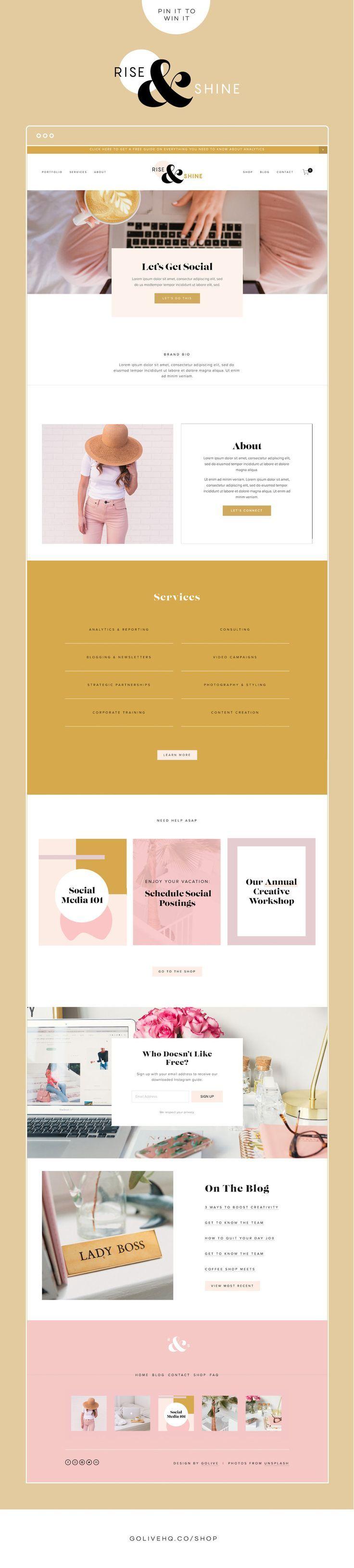 Win It Rise Shine Is Live In The Template Shop Simple Website Design Website Design Inspiration Web Design