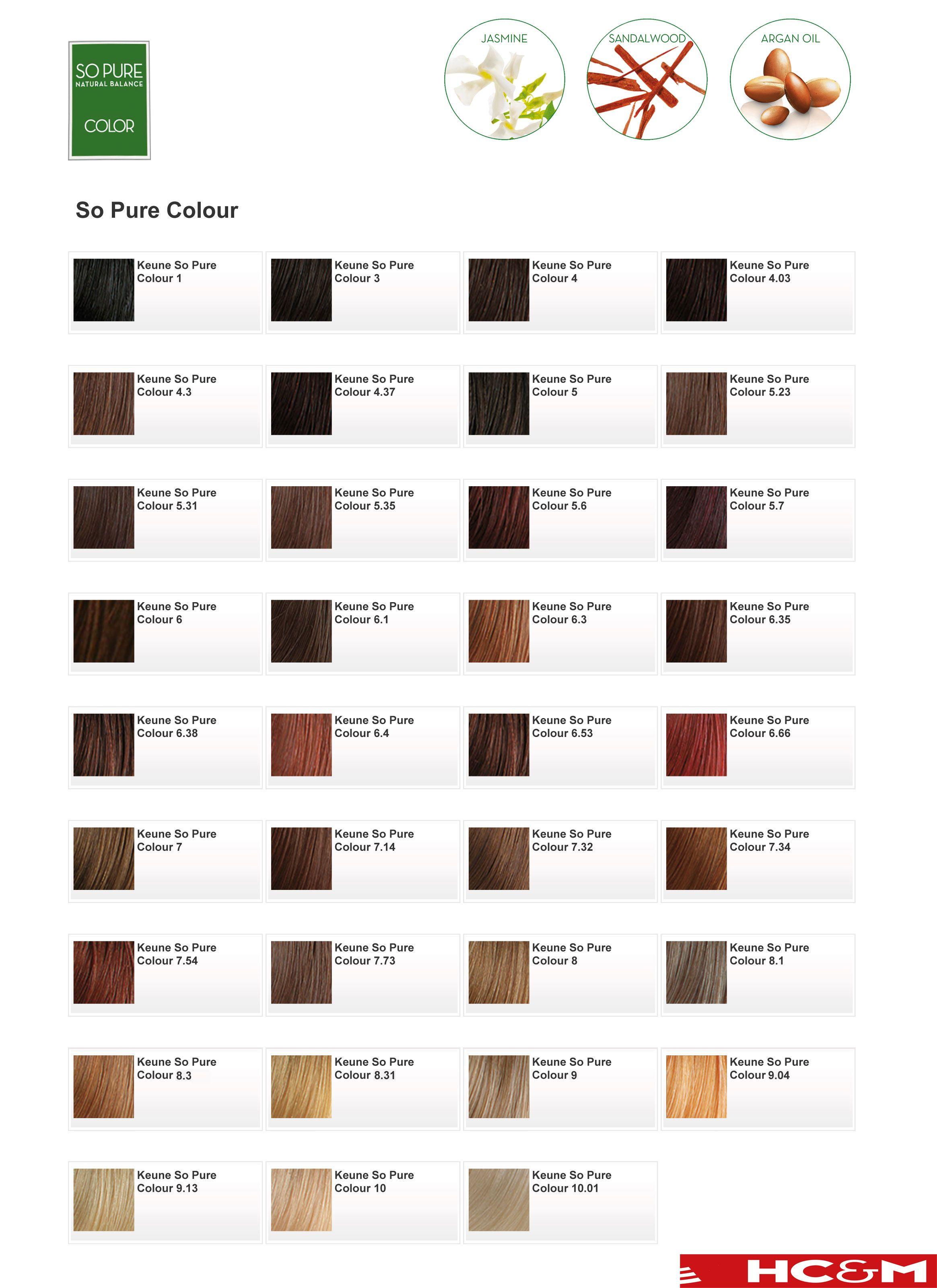 Keune So Pure Color Shade Chart Keune Pinterest
