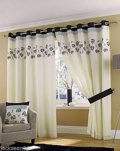 CREAM BLACK SILVER LINED RING TOP EYELET VOILE CURTAINS 46 X 72