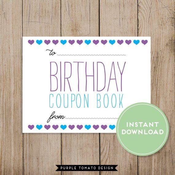 Printable Happy Birthday Coupon Book By Purpletomatodesign
