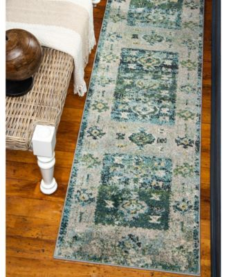 Bridgeport Home Newhedge Nhg3 Green 2 7 X 10 Runner Area Rug Reviews Rugs Macy S Rugs Rug Runner Area Rugs