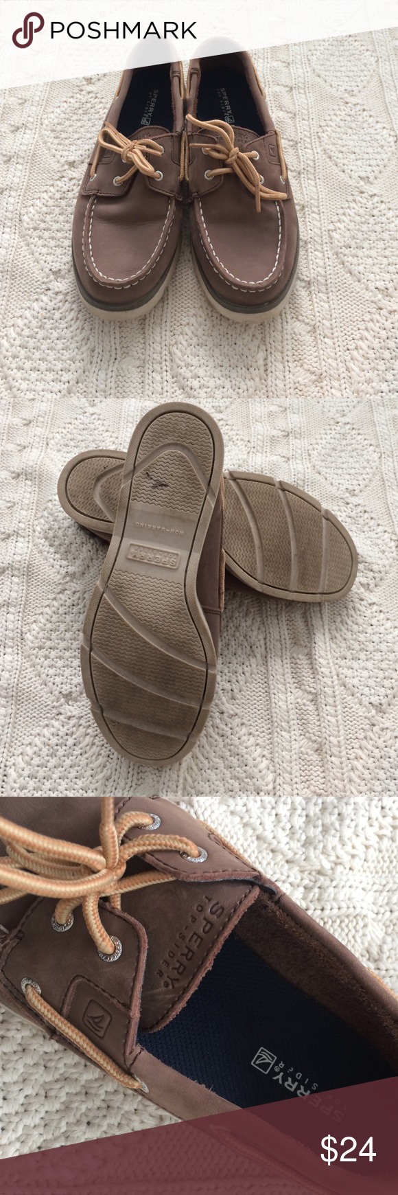 Sperry Top Sider boy's leeward boat shoe Excellent condition. Minor dirt marks on the soles. Leather upper. Size 4M. Sperry Top-Sider Shoes
