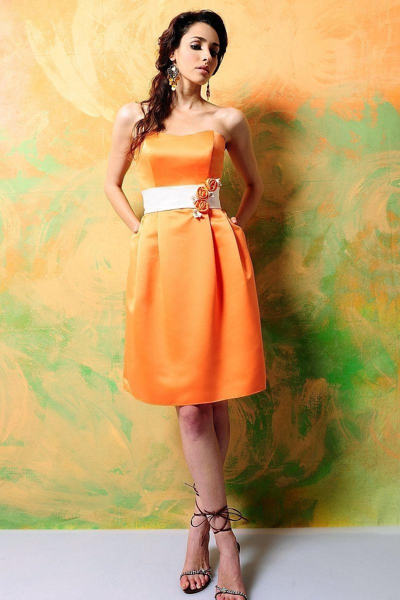 A-line Sweetheart Knee-length Satin Bridesmaid Dress (available in royal blue & custom trim)