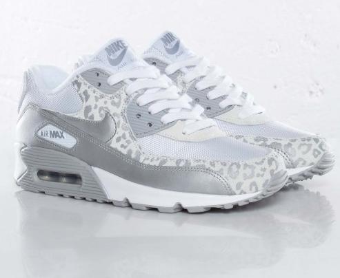 dame nike air max 90 leopard print hvid sølv