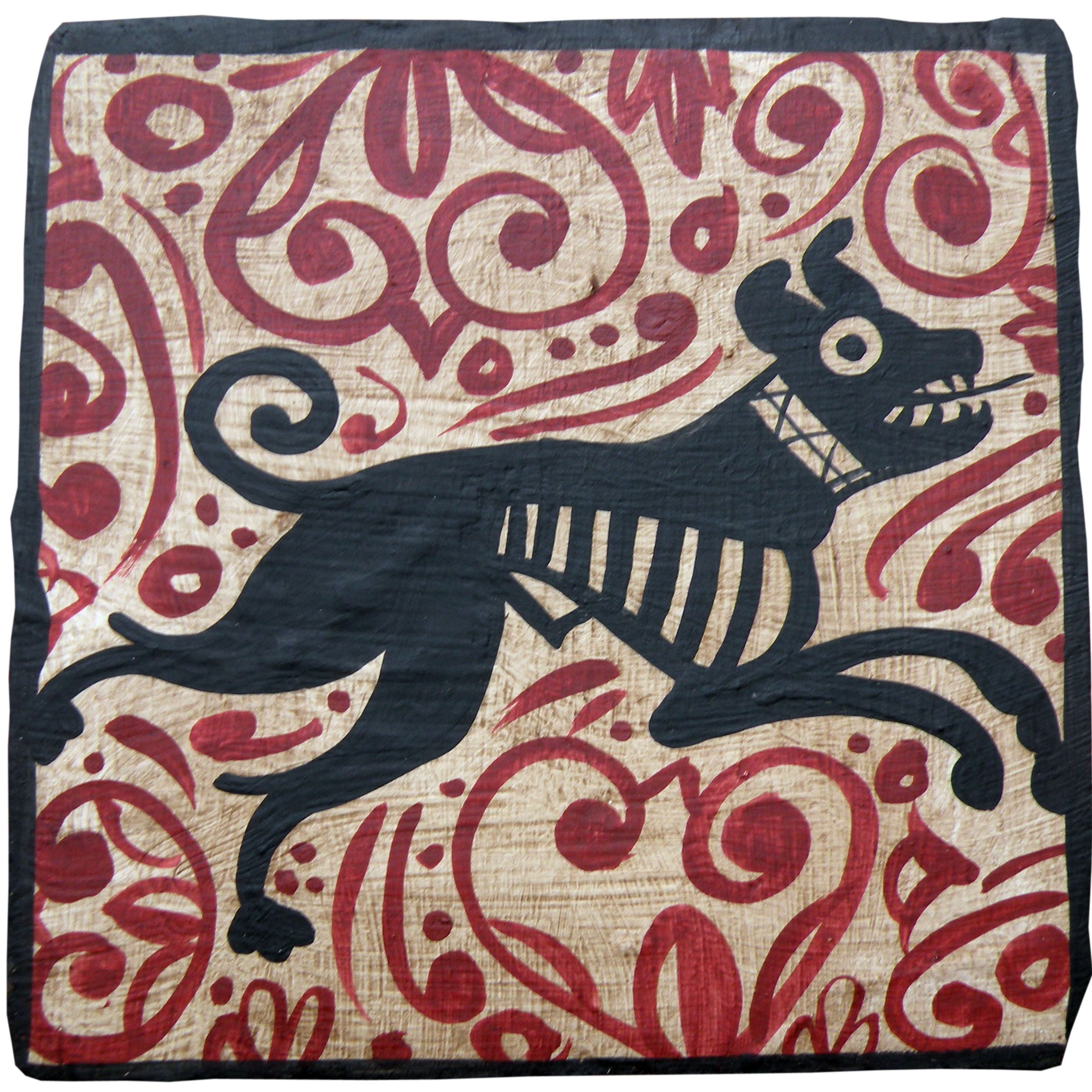 This hand painted ceramic tile shows a medieval hunting dog this hand painted ceramic tile shows a medieval hunting dog complete with spiked collar dailygadgetfo Image collections