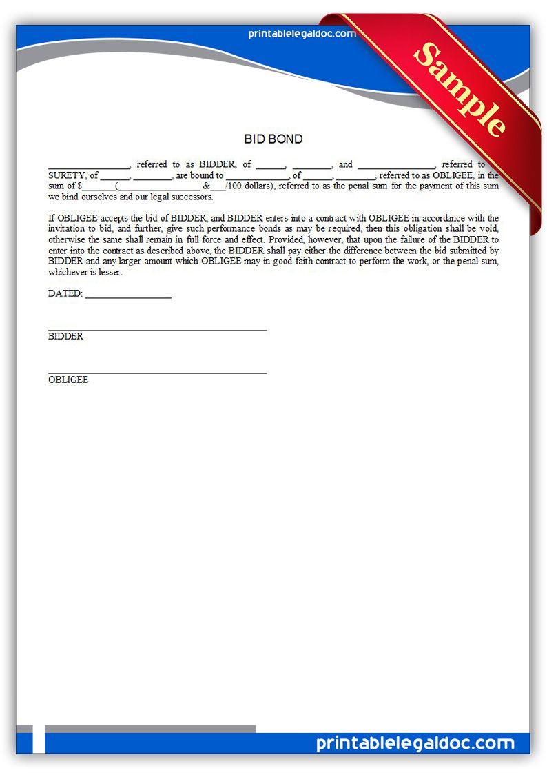 Bond Template | Free Printable Bid Bond Legal Forms Free Legal Forms Pinterest