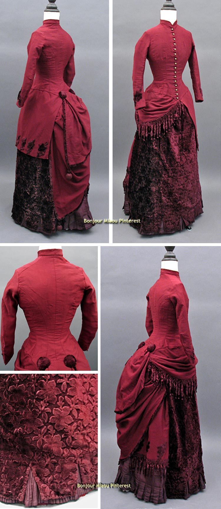Visiting dress, may be Agnew & English, Philadelphia, ca. 1884. Wine-colored wool and cut velvet. Chenille fringe; tassels in back. Past Perfect Vintage via The Wayback Machine #englishdresses1880 Visiting dress, may be Agnew & English, Philadelphia, ca. 1884. Wine-colored wool and cut velvet. Chenille fringe; tassels in back. Past Perfect Vintage via The Wayback Machine #englishdresses1880 Visiting dress, may be Agnew & English, Philadelphia, ca. 1884. Wine-colored wool and cut velvet. Chenille #englishdresses1880