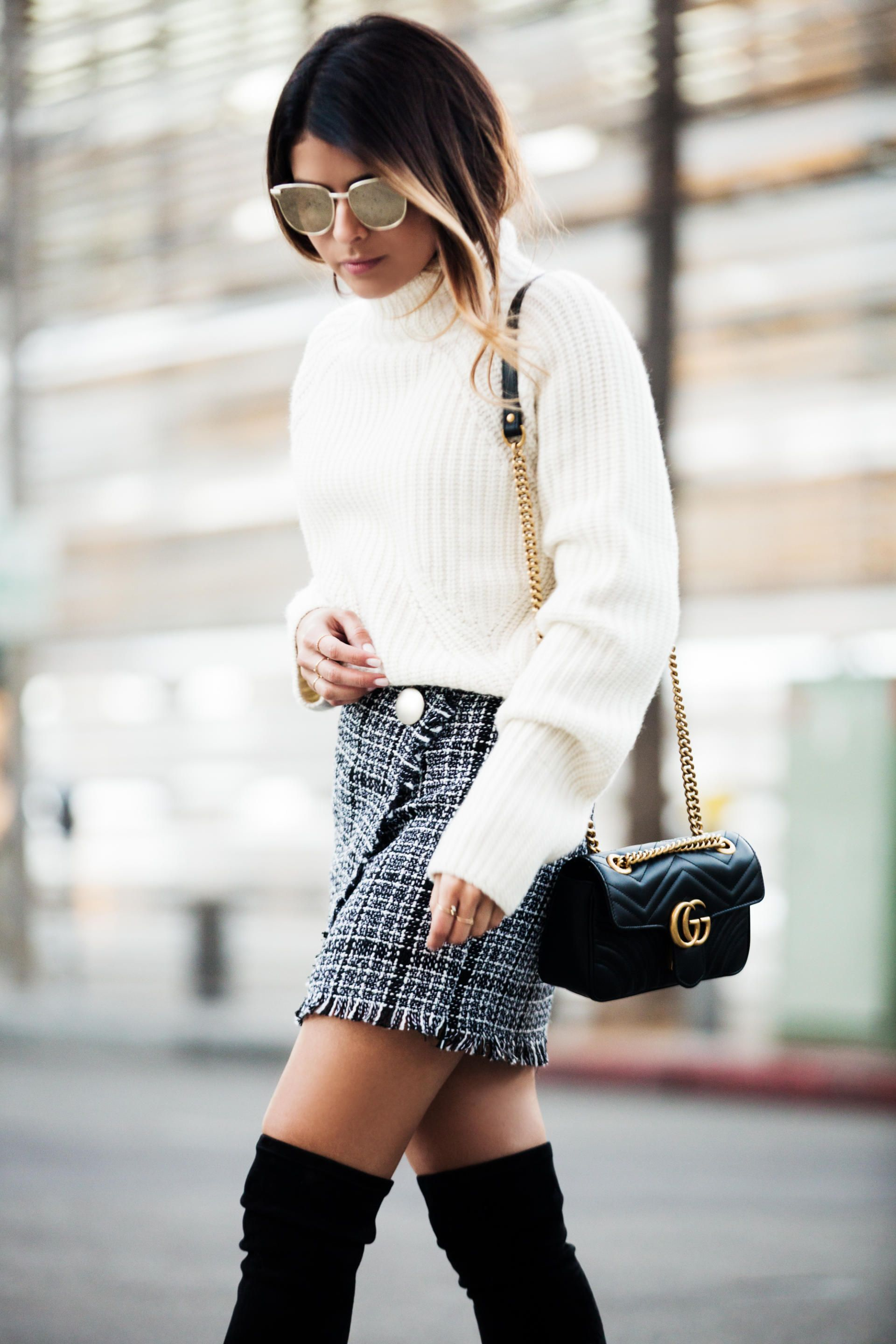 A Foolproof Way To Style Tweed Skirt Over The Knee Boots Cozy Sweater Gucci Mini GG Marmont