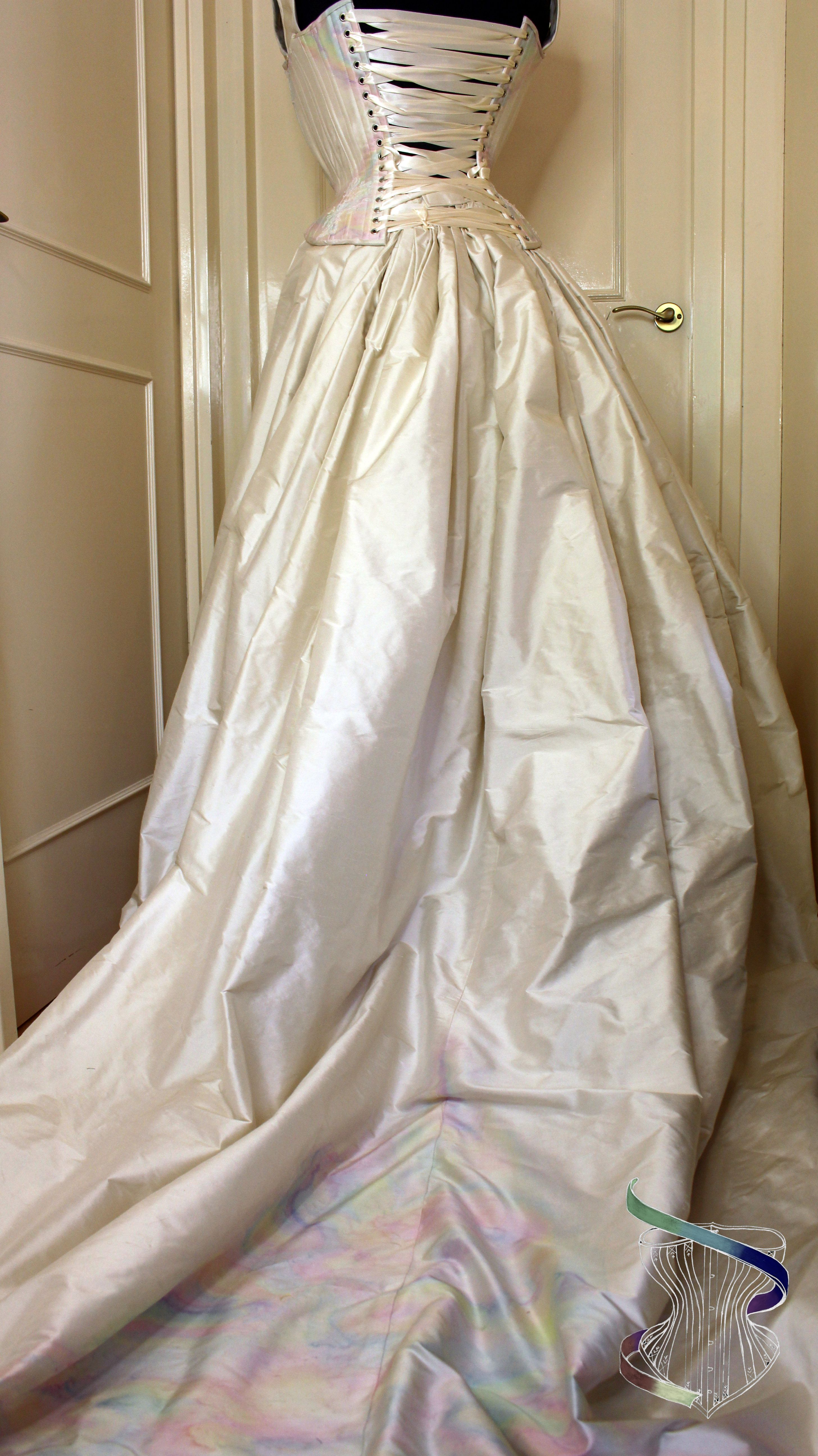 Iridescent Mother Of Pearl Wedding Dress Made Of Hand