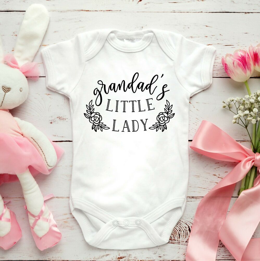 Daddys Little Girl Embroidered Baby Romper Babygrow Gift Personalised Daughter