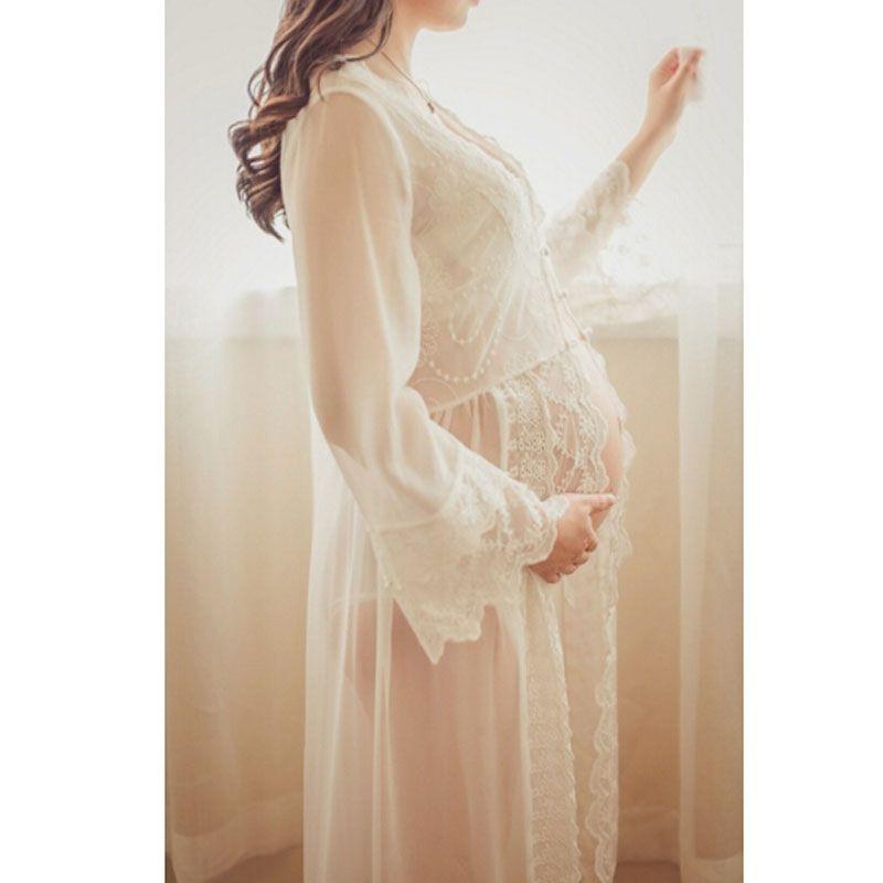 vestido de renda longo para gestante barato online -