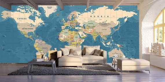World map mural,print painting,home decor,wall decal