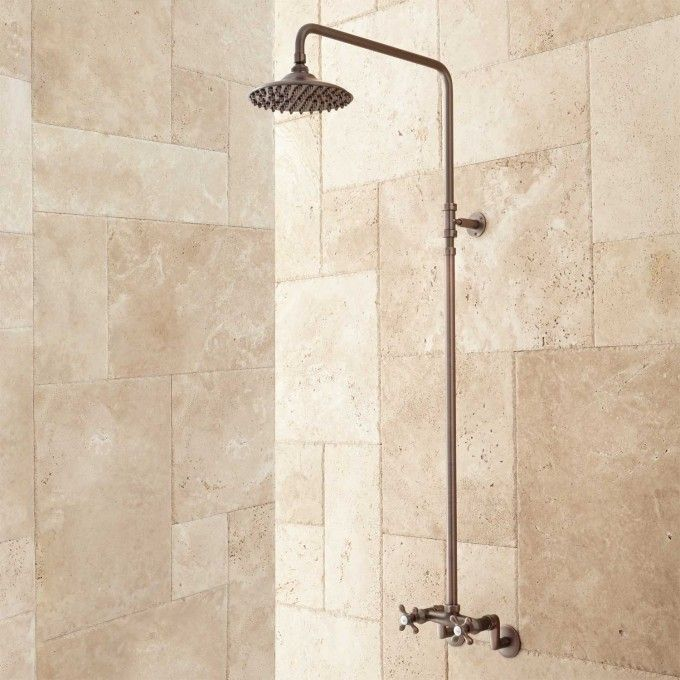 Netta Exposed Pipe Shower with Rainfall Shower Head in Chrome ...