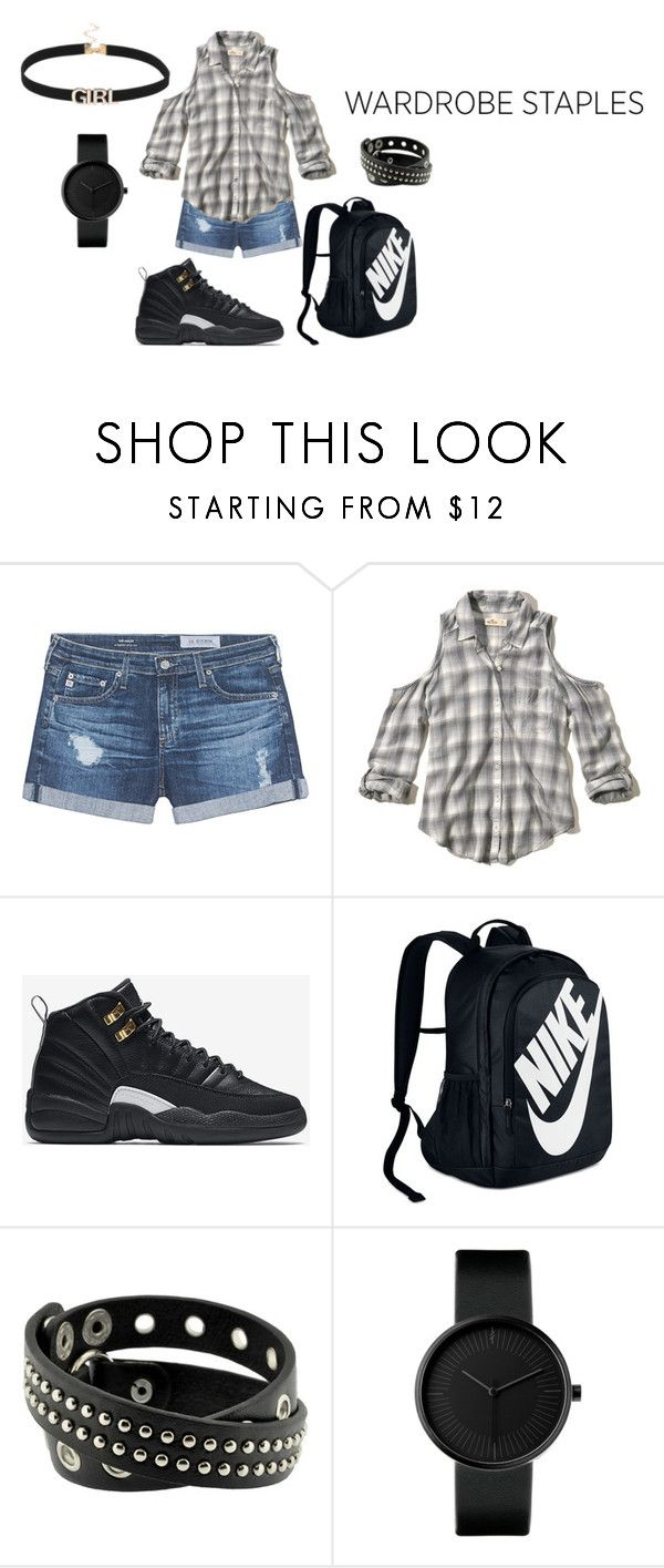 """Untitled #10"" by dariah3412 on Polyvore featuring AG Adriano Goldschmied, Hollister Co., NIKE, men's fashion, menswear, plaid and WardrobeStaples"