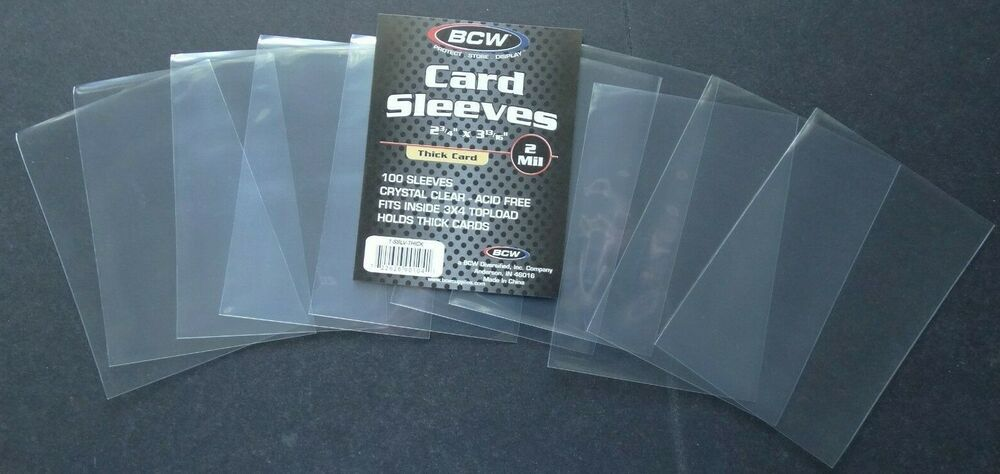 10 Loose Single Sleeves Bcw Soft Sleeve Thick Penny Sleeve For Thick Size Cards Bcw In 2021 Trading Card Holder Cards Card Sleeves