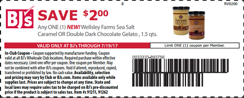 image about Bjs One Day Pass Printable known as Help save $2 upon any a person fresh Wellsley Farms Sea Salt Caramel or
