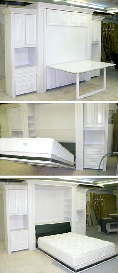 A Custom Table Murphy Bed Creates A Truly Dual Purpose Room: It Provides  Extra Work