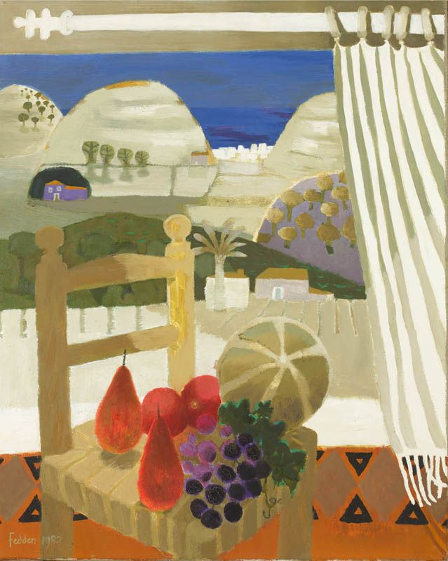 Mary Fedden, R.A. (1915-2012) - Window View, Spain (1982) - Oil on canvas
