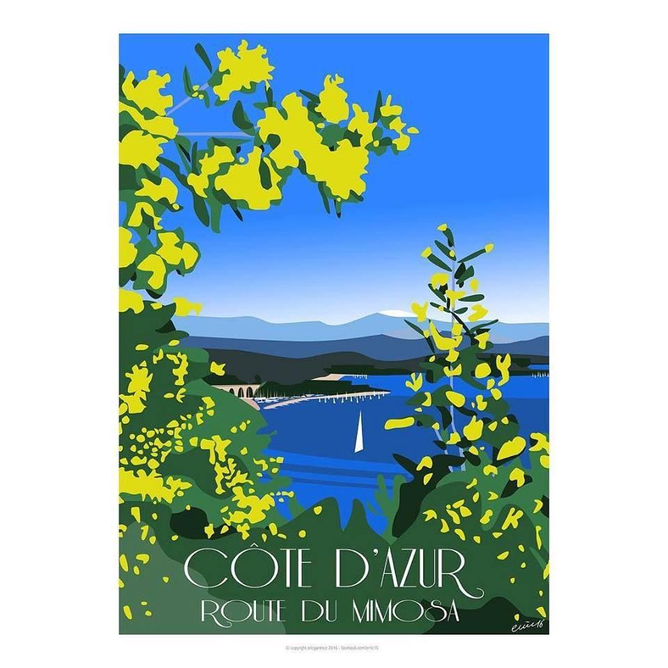 C te d 39 azur route du mimosa affiche minimaliste for Poster contemporain