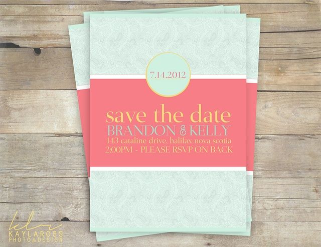 Turquoise And Pink Wedding Invitations: CORAL AND MINT OUTDOOR WEDDING