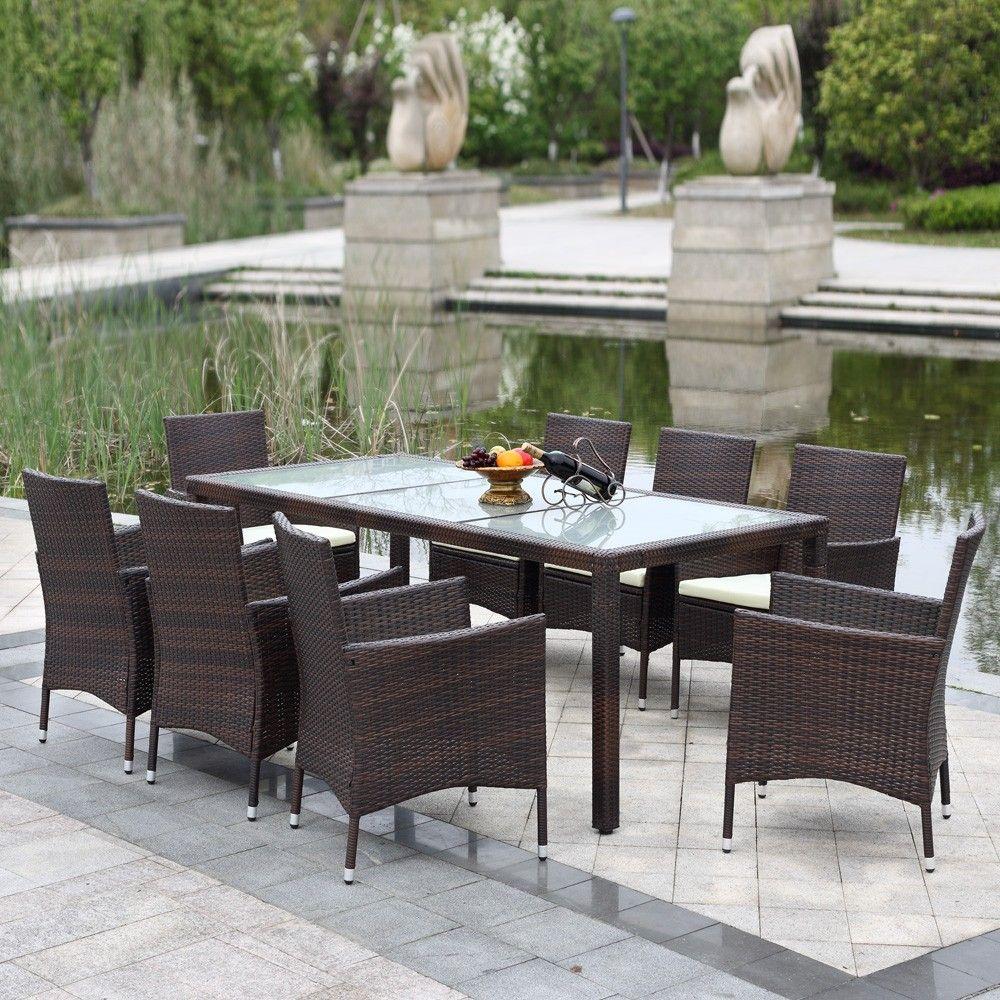 Ikayaa 9pcs Rattan Outdoor Patio Dinning Table Set Cushioned Garden Furniture Dark Brown