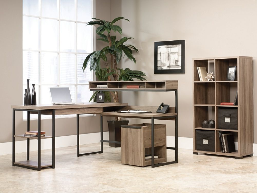 Sauder Transit Collection Multi Tiered L Shaped Desk Salted Oak By Office  Depot U0026 OfficeMax