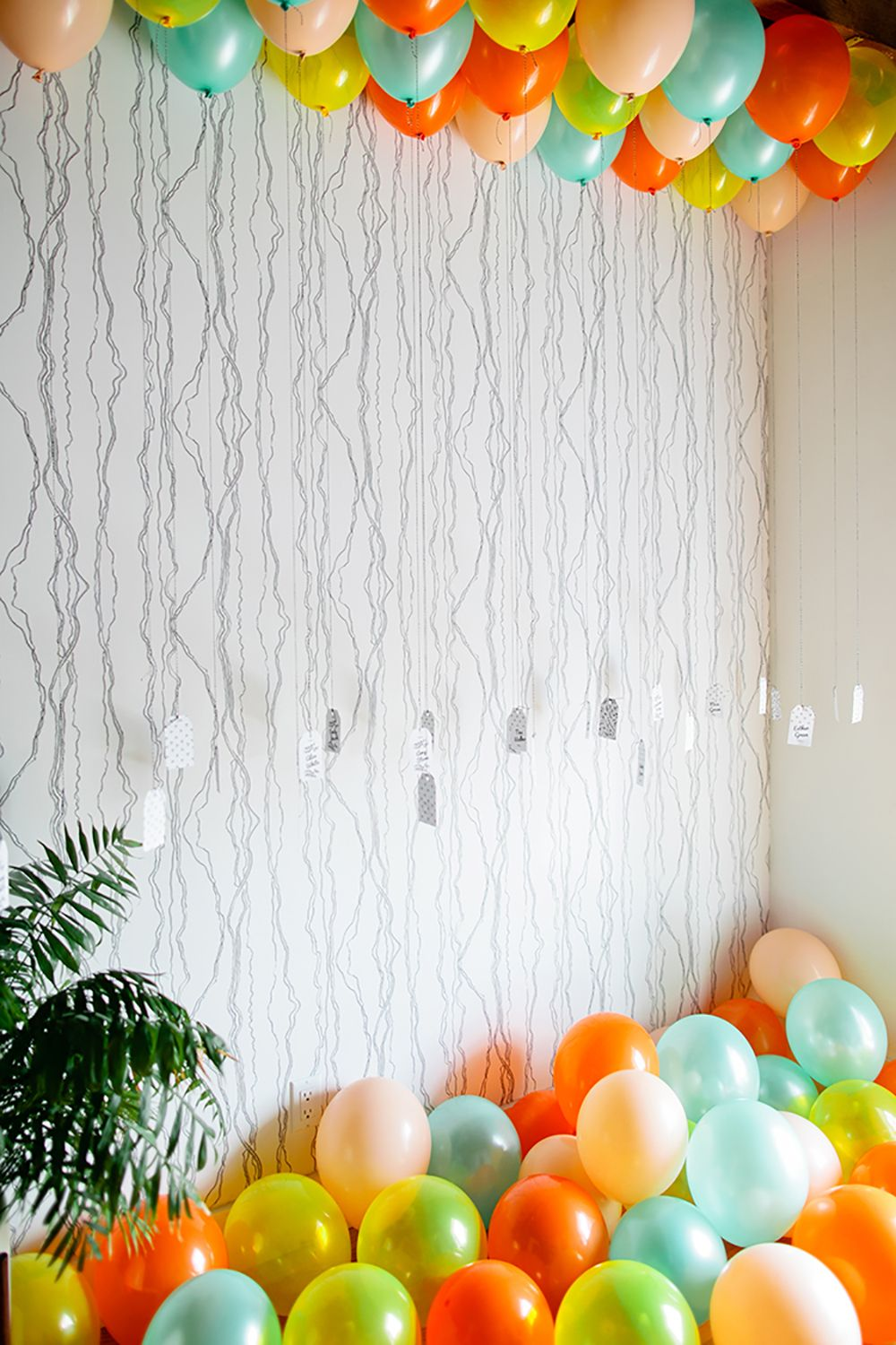 Balloon Ceiling DIY with Free Tag Printables | Balloon ...