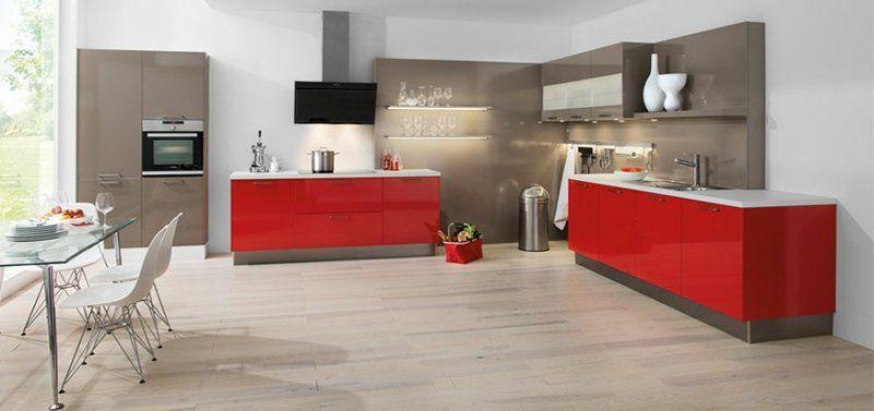 cuisine-rouge-grise-peinture-murale-blanche-armoires-rouges-grises - Photo Cuisine Rouge Et Grise