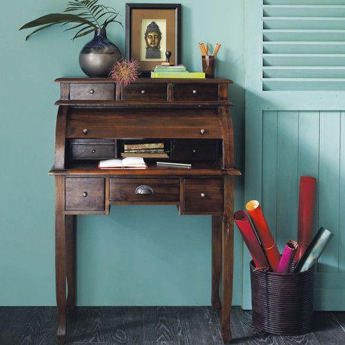 Bureau secrtaire en teck massif teint L 82 cm Writing desk