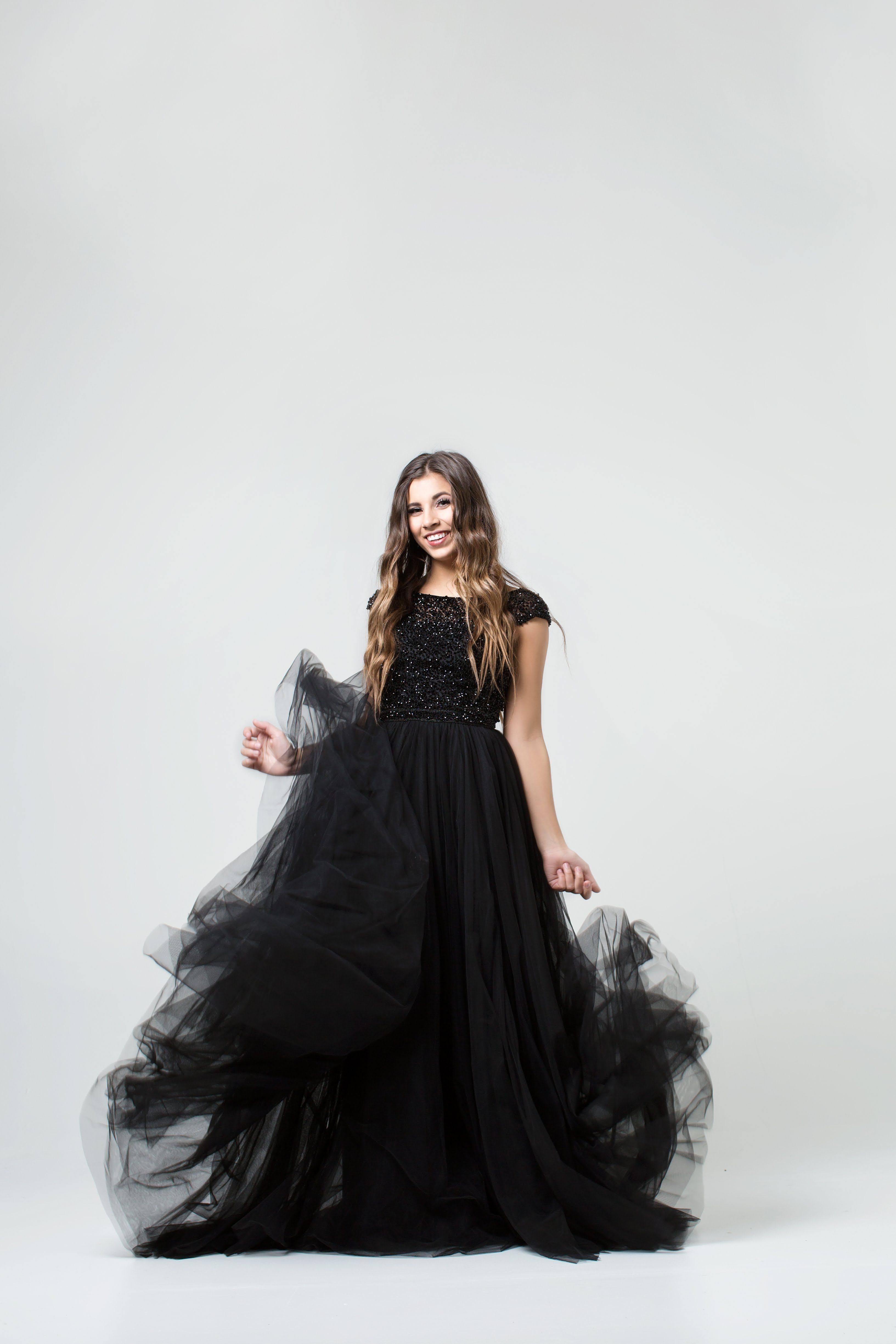 Sherri hill black flowy ballgown with capped sleeves and beaded